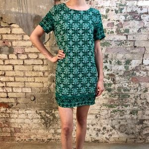 Green Patterned Shift Dress
